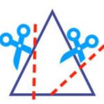Как разрезать треугольник двумя разрезами на три четырёхугольника и треугольник