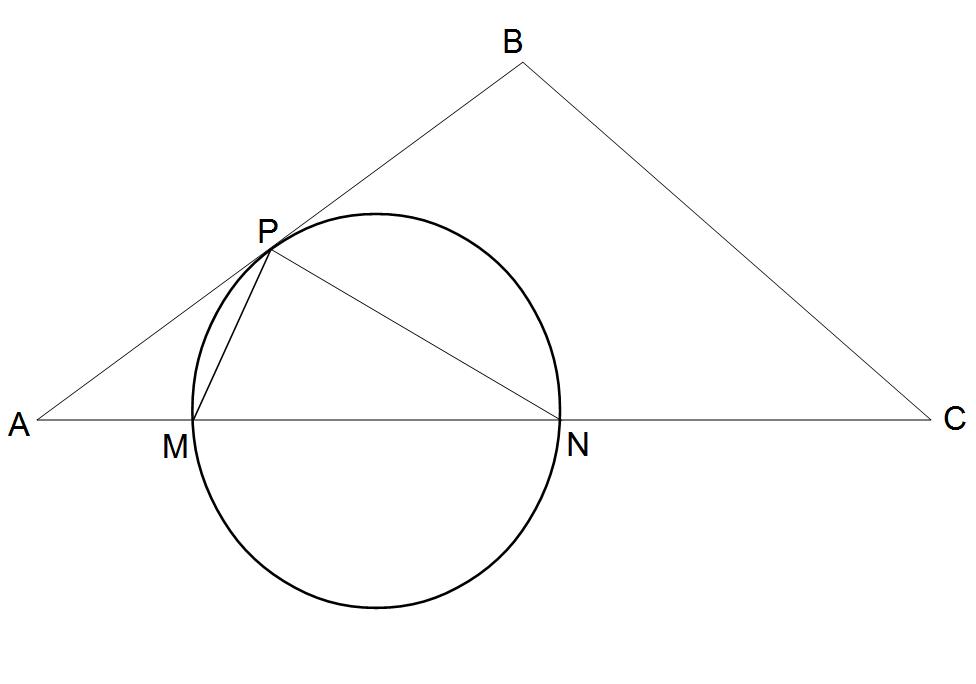 Треугольник пересекает окружность