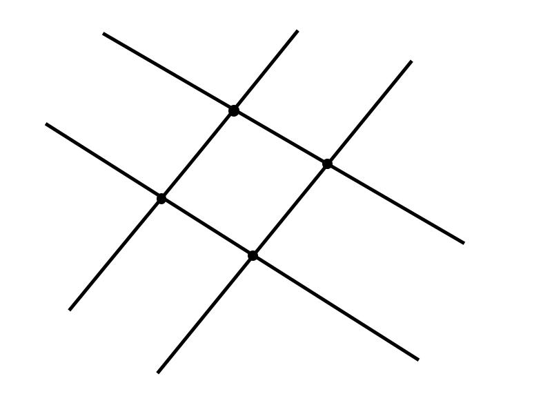 пересечение 2 прямых и 4 точки