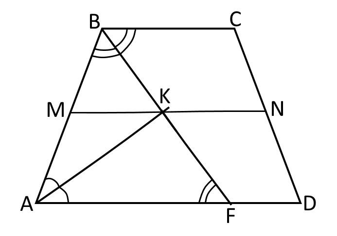 Трапеция и пересечение биссектрис на средней линии трапеции