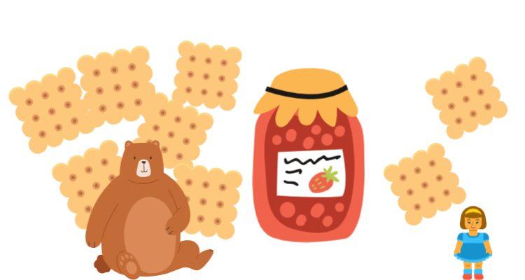 Маша и Медведь едят печенье и варенье к задаче