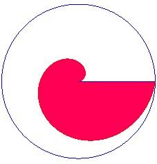 Треть площади круга по Архимедовой спирали